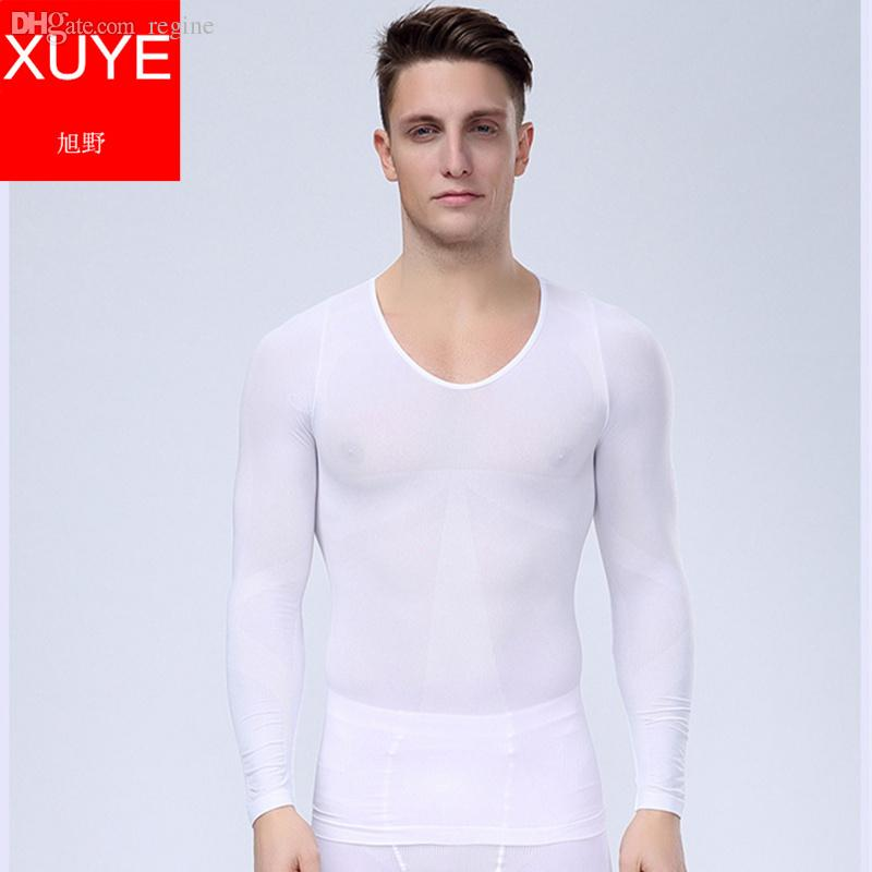 2019 Wholesale Men S Long Sleeve Breast Beam Waist Cincher T Shirt Men Body  Tights Shaper Undershirt Men Thin Themal Underwear Sexy Shapers From  Regine 835d67c65