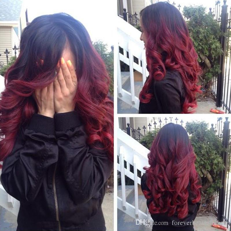 Sexy Wavy 1b/99j Full Lace Wig Burgundy Ombre Lace Front Wig Glueless 130% Human Hair MalaysianHair For Fashion Women