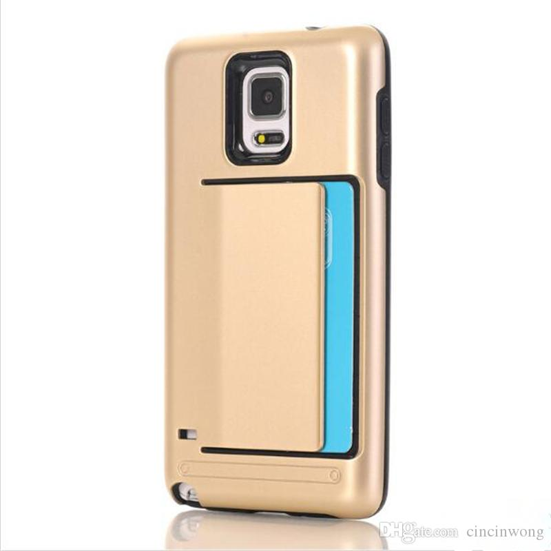 buy popular 4e3ad 48054 For Note 4 Super slim Armor Card Slot Rubber shockproof TPU PC Phone case  Cover for Samsung galaxy Note 4 N9100