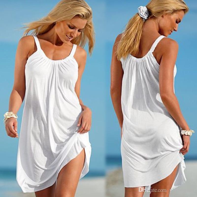 New fashion Women Casual Spagetti Strap Mini Dress Plus Size Casual Beach Sleeveless Dresses Ladies Casmisole Summer Dress