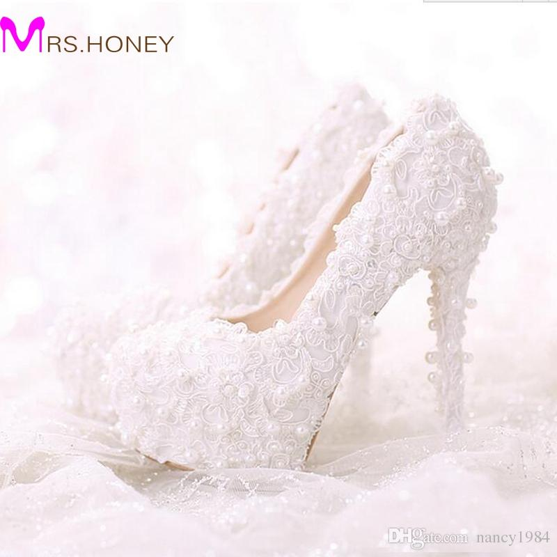 Comfortable Flat Heel White Pearl Sweet Lace Bridal Shoes Bouquet Wedding  Party Dress Shoes 2016 Latest Beautiful Women Shoes Evening And Bridal Shoes  ... 6c4f284a9890