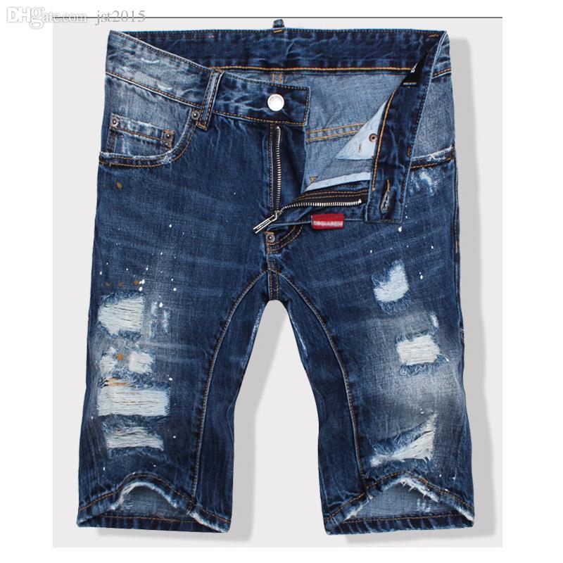 606b11086 Venta al por mayor-2016 de calidad superior del verano Ds hombres  pantalones vaqueros rasgados pantalones cortos retro lavados agujeros  azules hasta ...