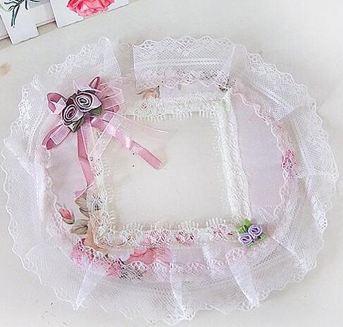 Lovely Switch Sticker Home Decor Cloth lace art decoration set wall stick socket set switch panel HK81