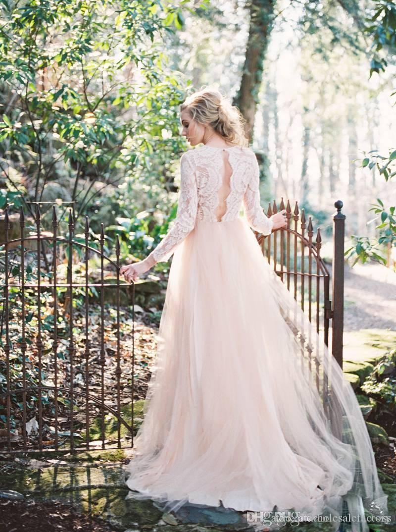 Western Garden Wedding Dresses Long Sleeves V Neck Country A Line Wedding Dresses Key Hole Back Lace Top Wedding Gowns 2017 Newest