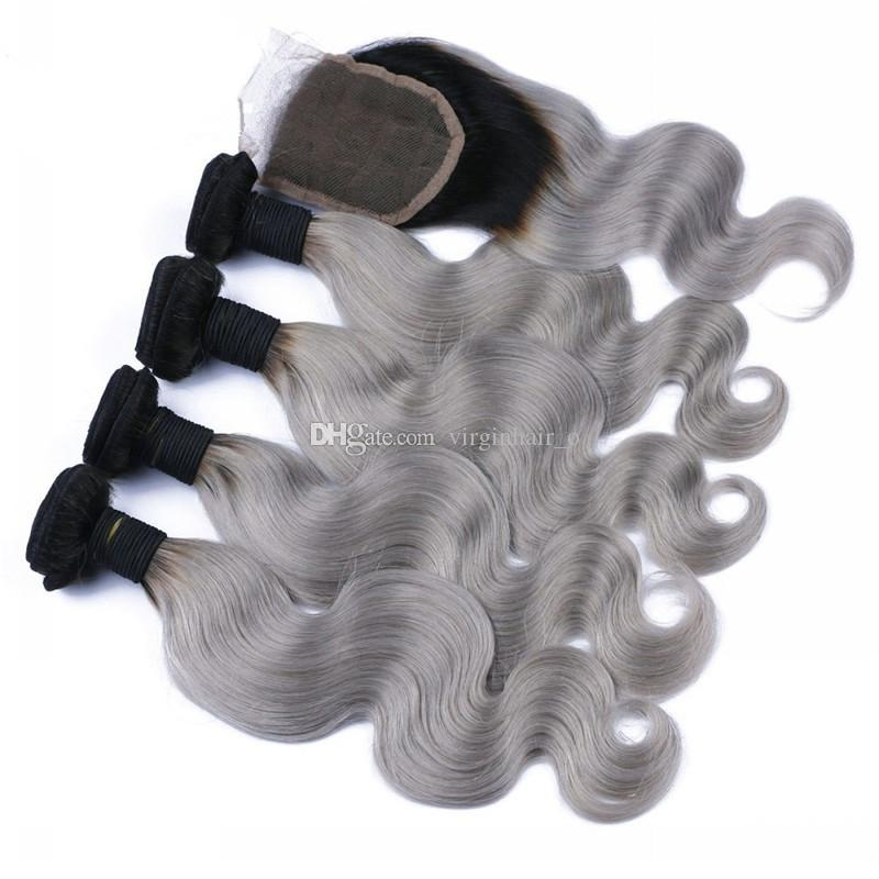 8A Ombre Brazilian body wave grey hair weave with closure grey dark root ombre hair extensions with closure 1b/grey human hair