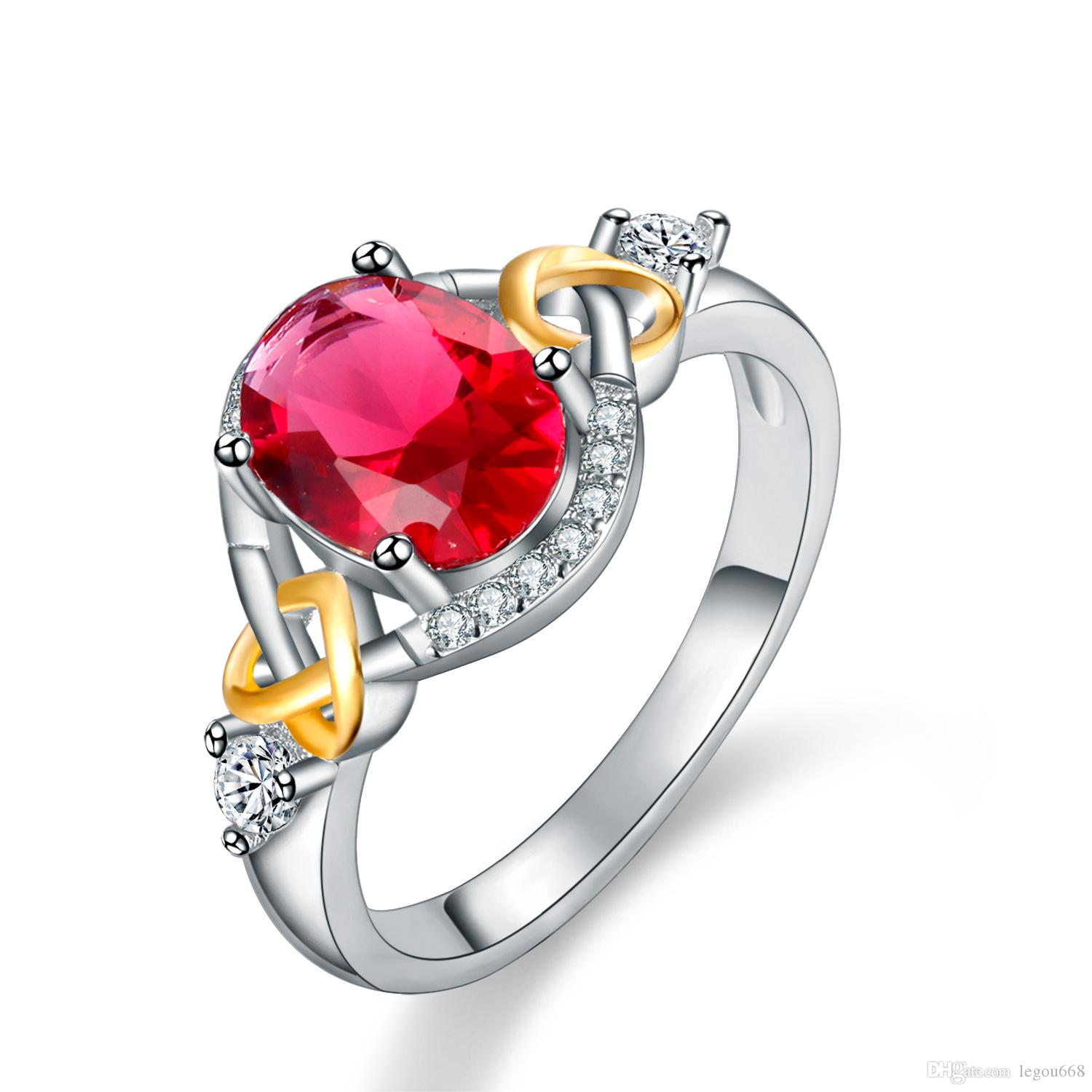 New European and American foreign trade hot jewelry, two color galvanized ring, female micro set zircon lovers ring