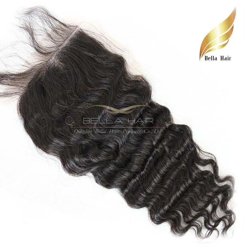 Deep Wave Malaysian Virgin Human Hair Extensions Lace Closure Weave Free Part Unprocessed Hair Closure Top 8A Grade