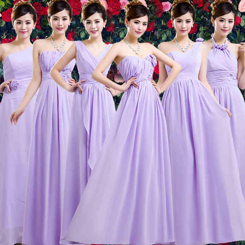 Compre 6 Estilos De Gasa Vestidos De Dama De Púrpura Largo Del ...