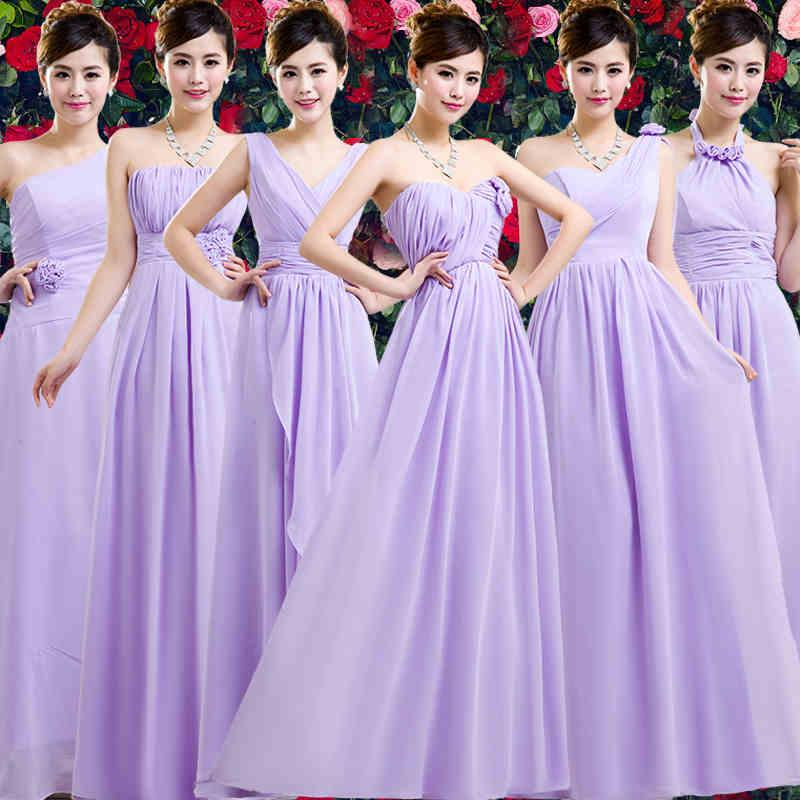 6 Styles Chiffon Purple Bridesmaid Dresses Long V Neck One Shoulder ...