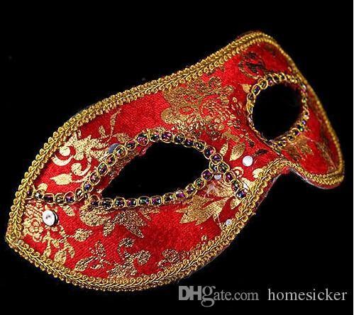 20 unids media Cara máscara Halloween mascarada máscara masculina, Venecia, Italia, flathead encaje brillante máscaras de tela