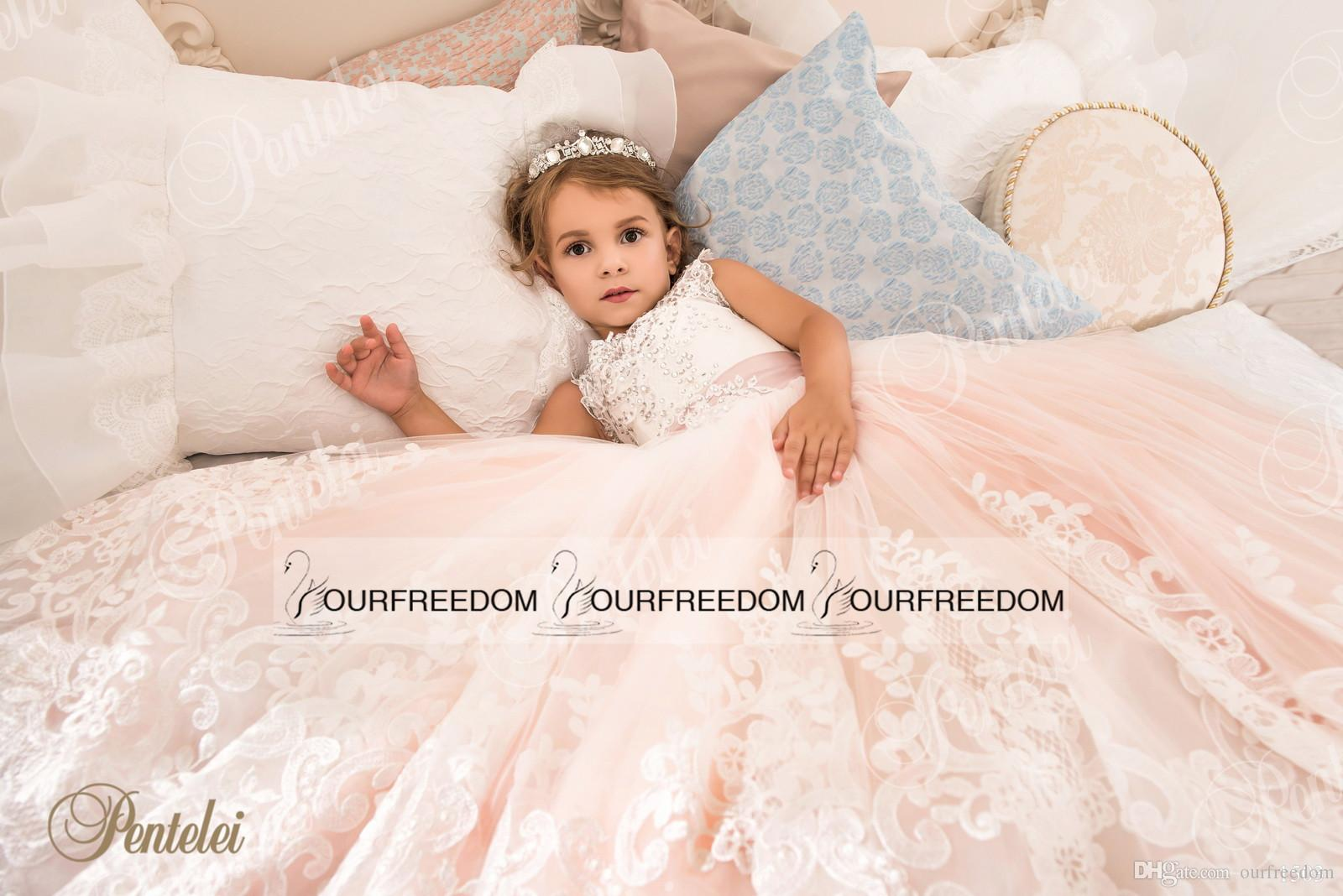 2019 Petelei Cute White and Purple First Communion Dress For Girls Ball Gown Jewel Lace Flower Garden Wedding Puffy Flower Girl Dresses