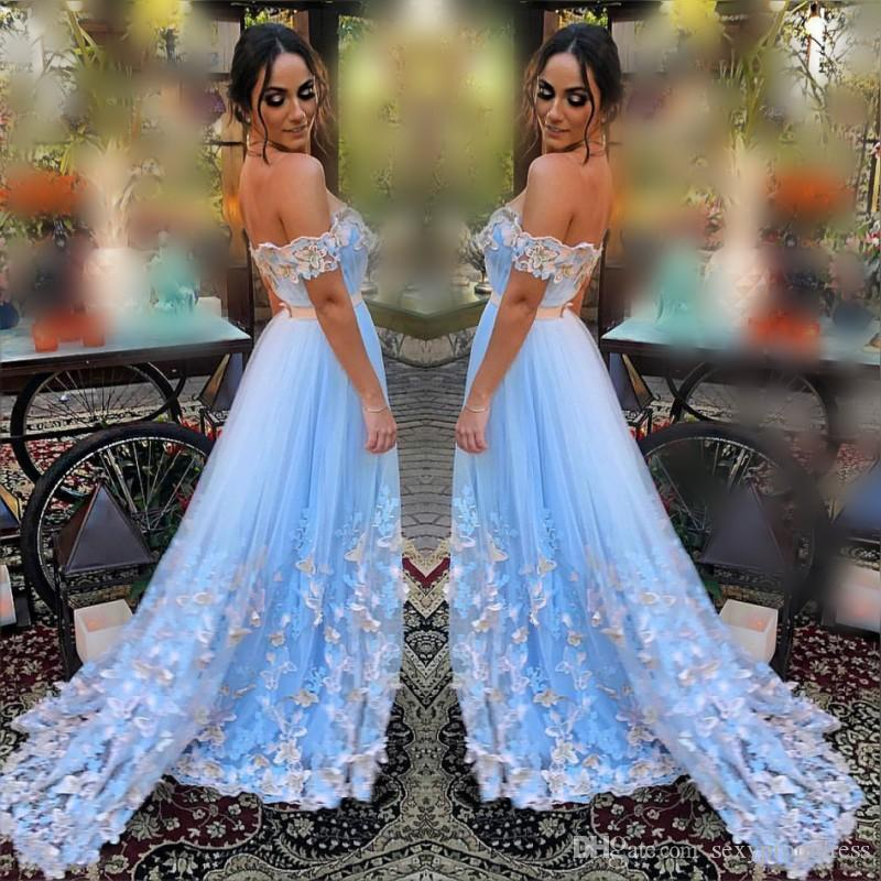 6d2b12e153da Gorgeous Sky Blue Prom Dresses Sexy Off The Shoulder Butterfly Lace  Appliques Evening Gowns Tulle A Line Formal Party Dress Sweep Train Sparkly Prom  Dresses ...