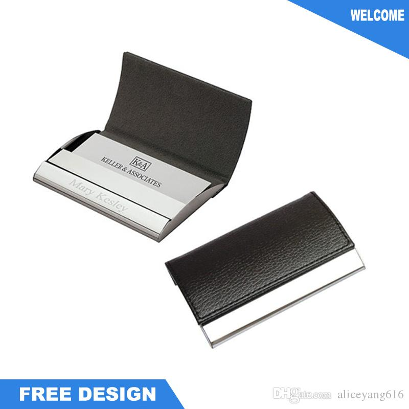 Customized Personalised Business Leather Card Holder Wallet for ...