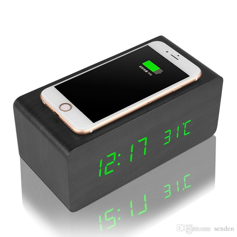 Best Multifunctional Wooden Alarm Clock Wireless Charger