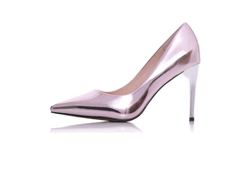 Die neue helle Haut Dermis und Silber High Heels mit feiner spitz sexy Frauen Schuhfrühling 2016