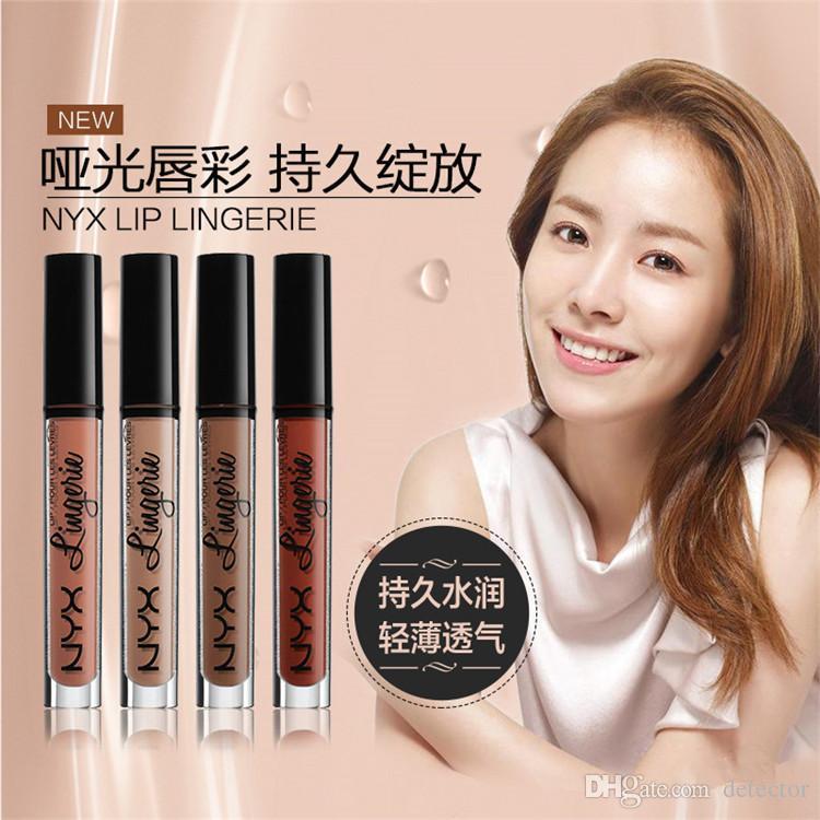 Free DHL 2016 NEW NYX lip lingerie liquid Matte Lip Cream Lipstick NYX Charming Long-lasting Brand Makeup Lipsticks Lip Gloss
