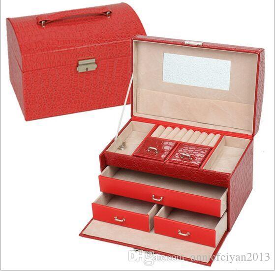 21.9 * 16.8 * 13.5 Cuero Princesa europea Tres capas Conjuntos de joyas Caja de almacenamiento Artículos diversos Cosméticos Joyero Organizador Caja / Estuche / Cubos / Gabinetes