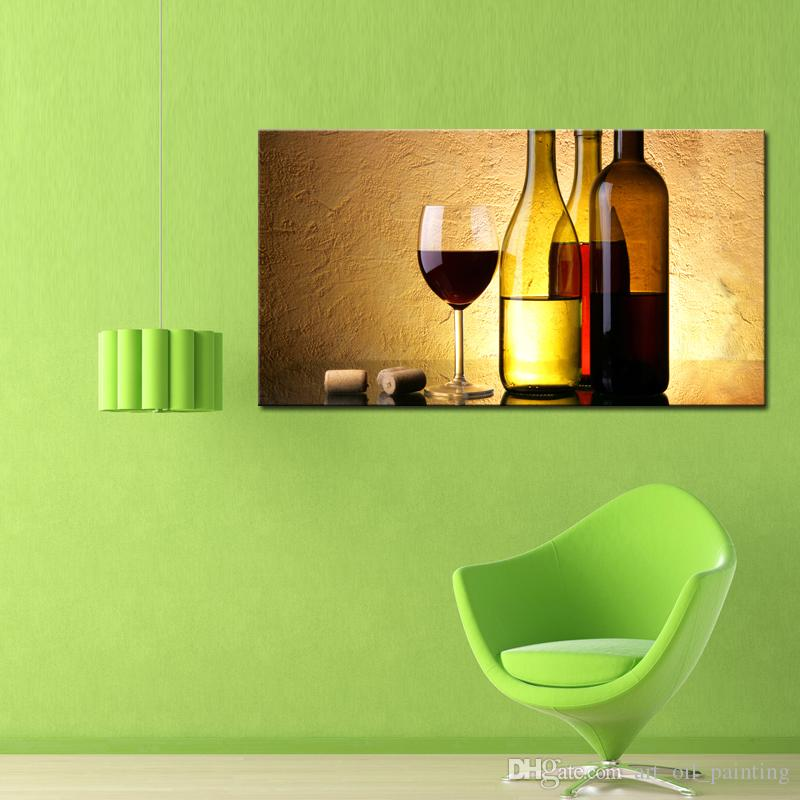 Wine Paintings Wall Art a Cup of Wine and Wine Bottle with Some Grapes Picture Print on Canvas for Modern Home Decoration