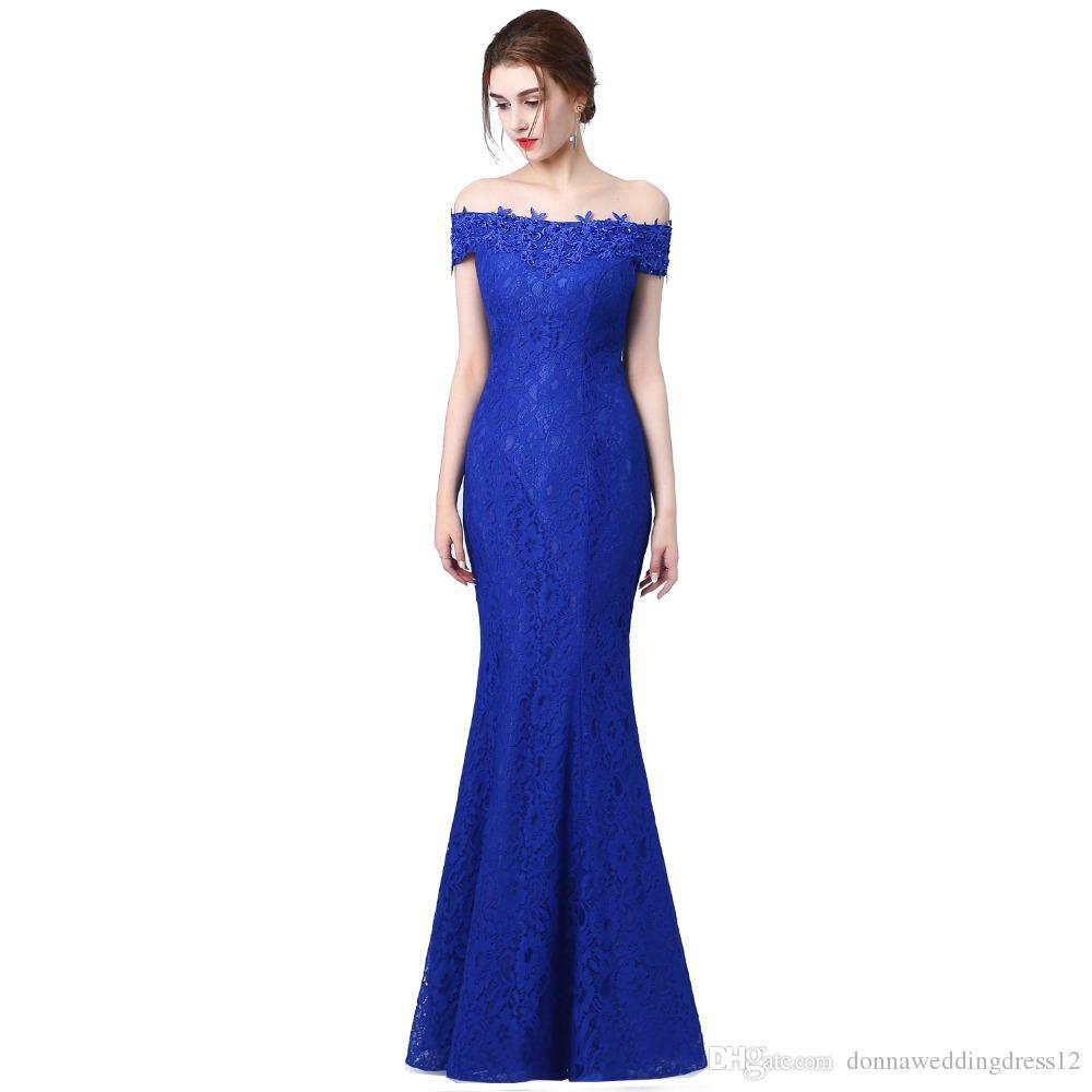 Großhandel Lange Mermaid Abendkleid Weg Von Der Schulter Blau Wulstige Robe  Femme Bal Abschlussball Abend Kleid Kleid Schwarz Backless Partei Kleid