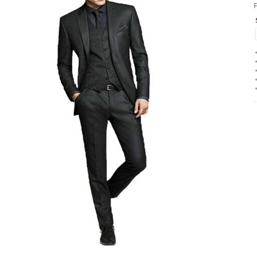 Wholesale 2017new Men Black Business Formal Wedding Dress The Groom Holds The Thin Body Suit Custom 3 Sets Coat Jacket And Pants