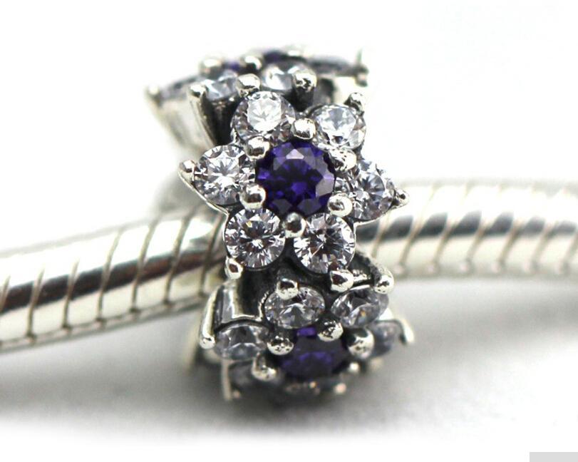Pandora Fleur Spacer Charme Perles avec Violet et Clair Cz 925 en argent sterling perles lâches pour fil bracelet fashon bijoux authentique