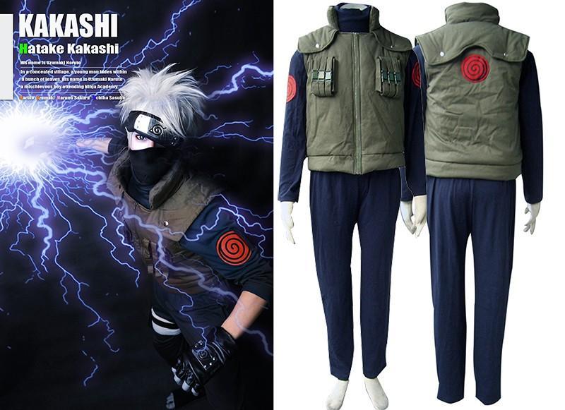 Naruto Traje Cosplay Kakashi Cosplay Hatake Kakashi Uniforme Ninja Traje + Banda + Luvas Cosplay Terno Traje de Halloween para homens