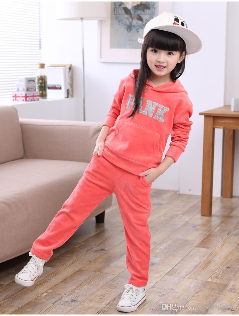 2016 Baby Girl boy Kids deportes de dibujos animados Ropa conjunto Sudadera con capucha tops Pantalones 2 unids Traje de bebé niña Primavera Otoño Trajes Traje traje