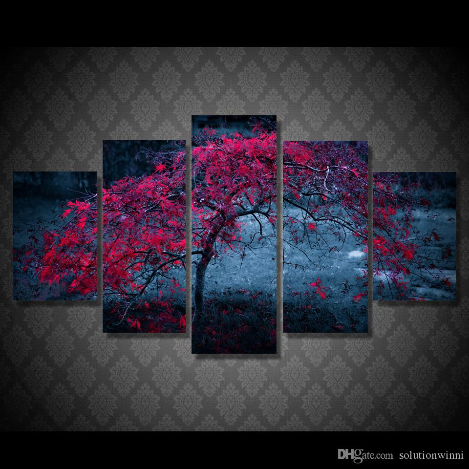 5 Panel HD Printed tree leaves purple autumn Painting Canvas Print room decor print poster picture framed canvas painting