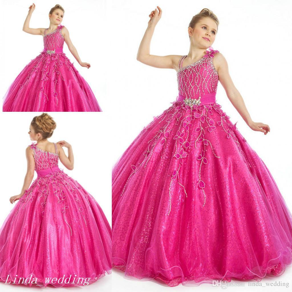 Compre Vestidos De Fucsia Sparkly Girl\'s Del Desfile De La Princesa ...