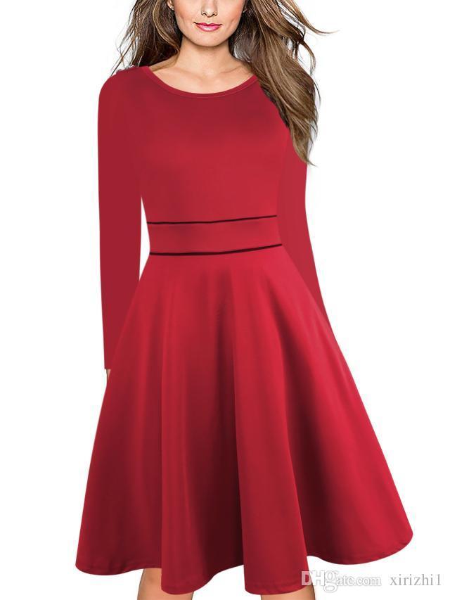 Acquista L Inghilterra Style Maniche Lunghe Donne Vestito Rosso O Collo  Button Zipper Slim Vendita Calda Autunno Nuovo Arrivo Elegante Abito Da  Ballo Abito ... 0abaa61ad79