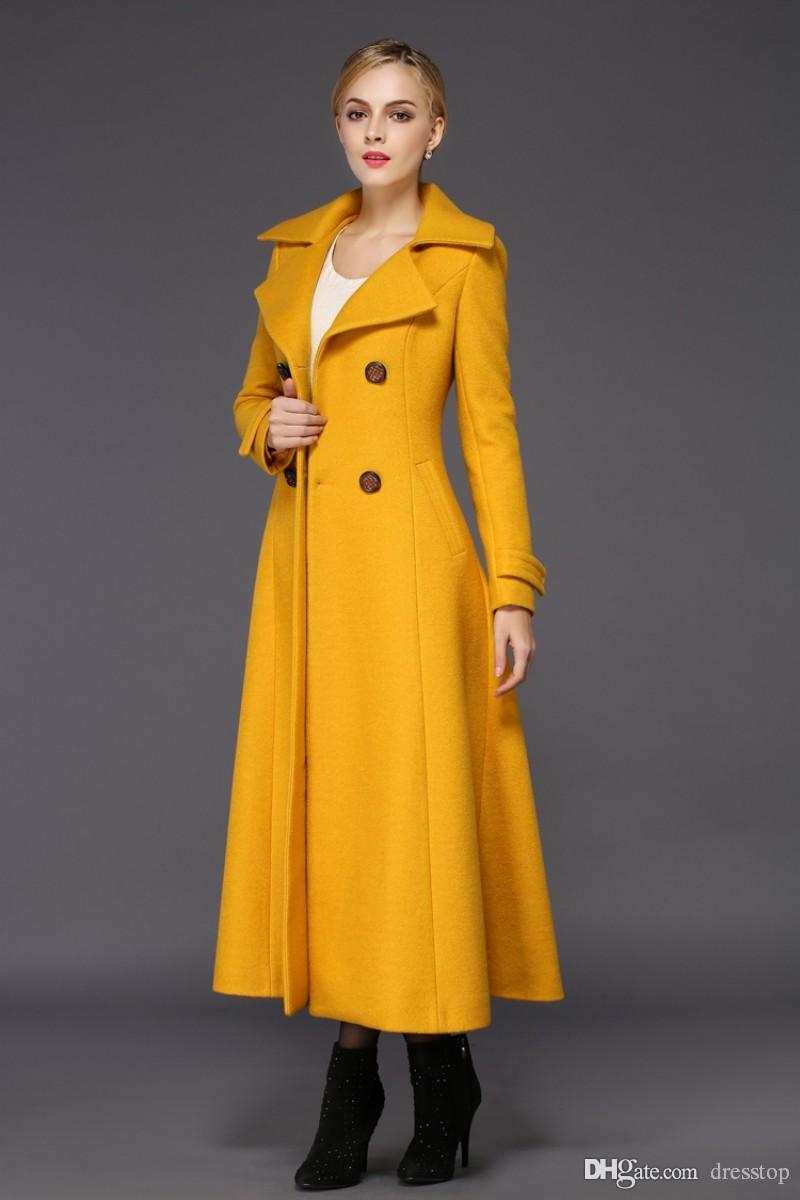 Fashion Yellow Womens Long Winter Coats For Women Slim Fit Wool Blend Ladies Jacket Warm Parka Double Breasted Long Sleeves Cheap Overcoat
