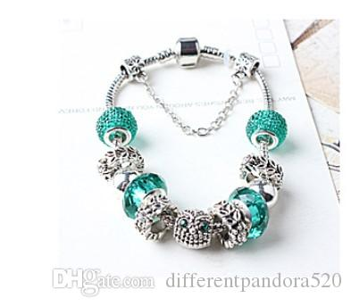 925 Sterling Silver Green Crystal Charm Beads fit Pandora Bracelet Silver Charm Loose Beads Spacer European DIY Safety Chain Women Jewelry