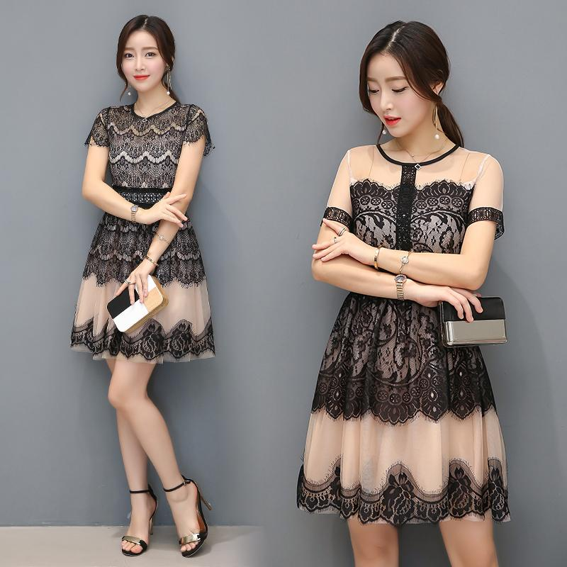 75e02bb131 Wholesale- 1686# 2017 Summer New Korea Style Women Fashion Short-sleeved  O-neck Sexy Hollow out Lace Stitching Dress Casual Dress Vestidos