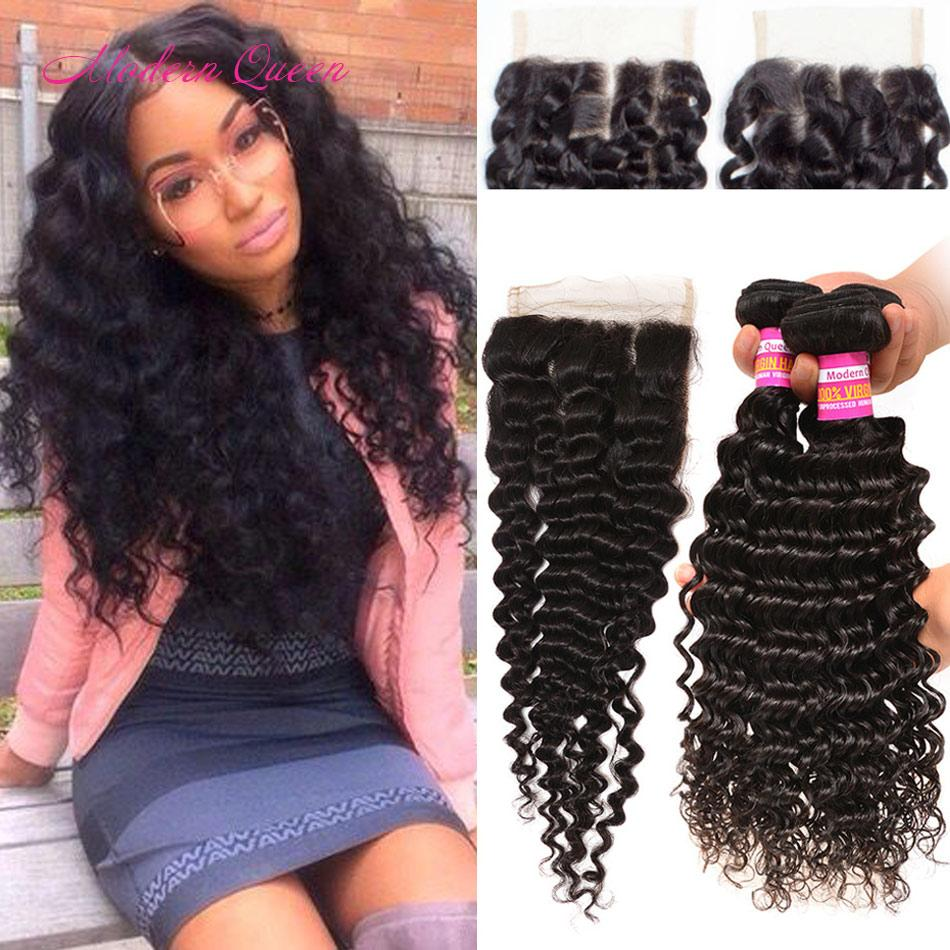 8a Raw Indian Deep Wave Human Hair Weft 3 Bundles With Lace Closure