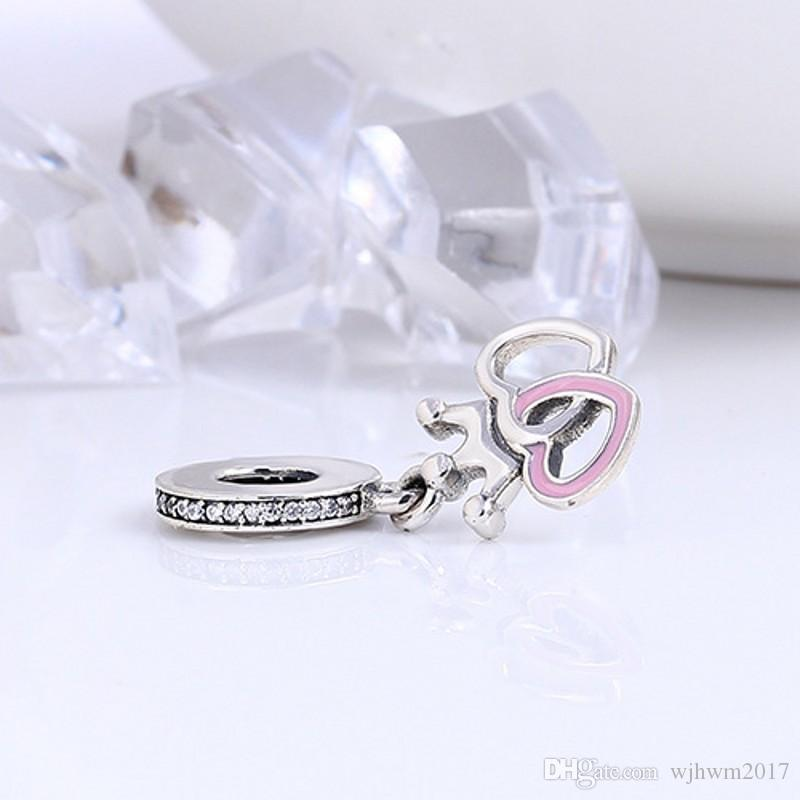 Interlocked Heart Charms Pendants Authentic 925 Sterling Silver Jewelry Pink Enamel Princess Crown Beads For DIY Brand Bracelets Making