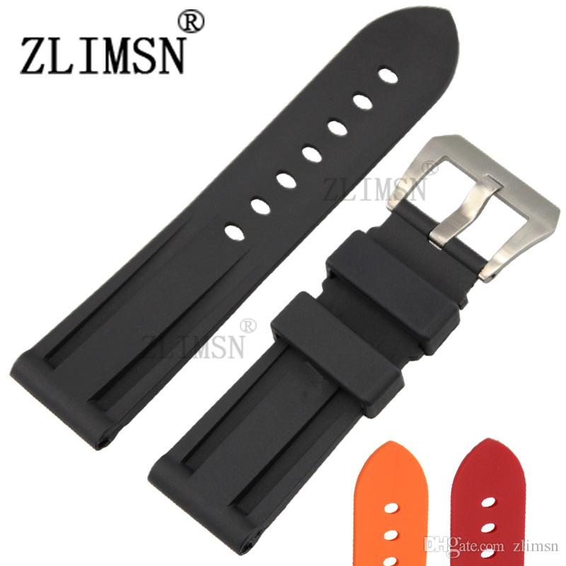 4b9e33311a2 ZLIMSN Watch Bands Straps 22mm 24mm Mens Diver Silicone Rubber Soprt Watch  Band Strap Screw In Silver Buckle Relojes Hombre 2016 Wrist Watch Bands  22mm ...