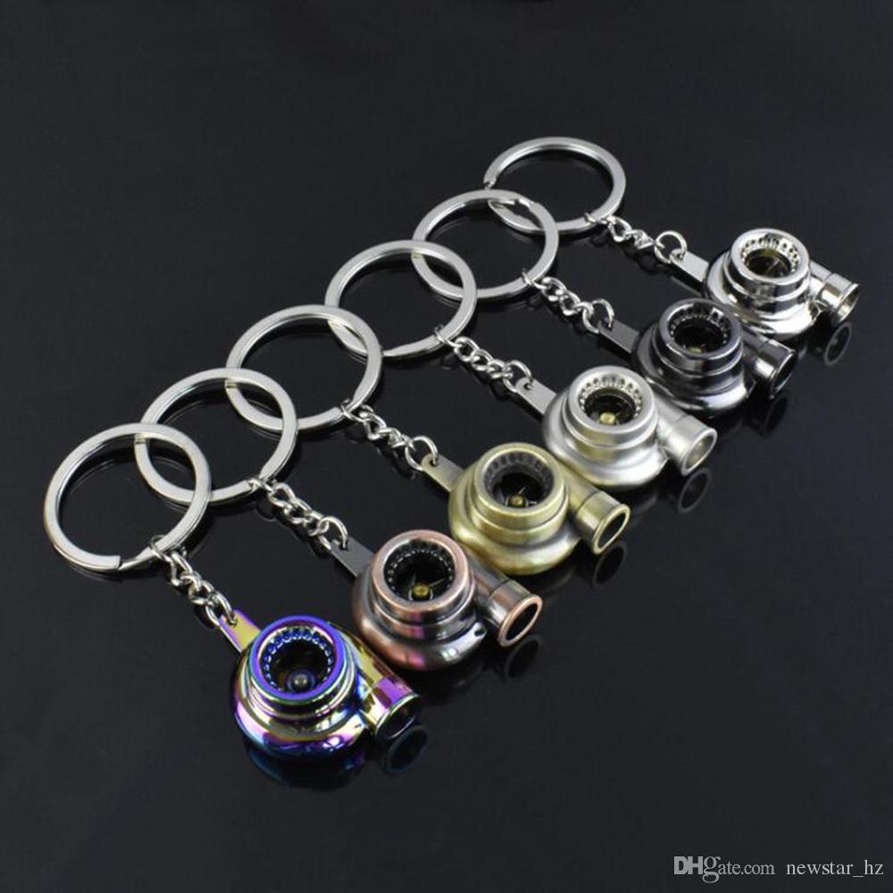 Creative métal turbo chargeur porte-clés porte-clés en alliage de zinc portant roulement à turbine à turbine turbocompresseur porte-clés porte-clés