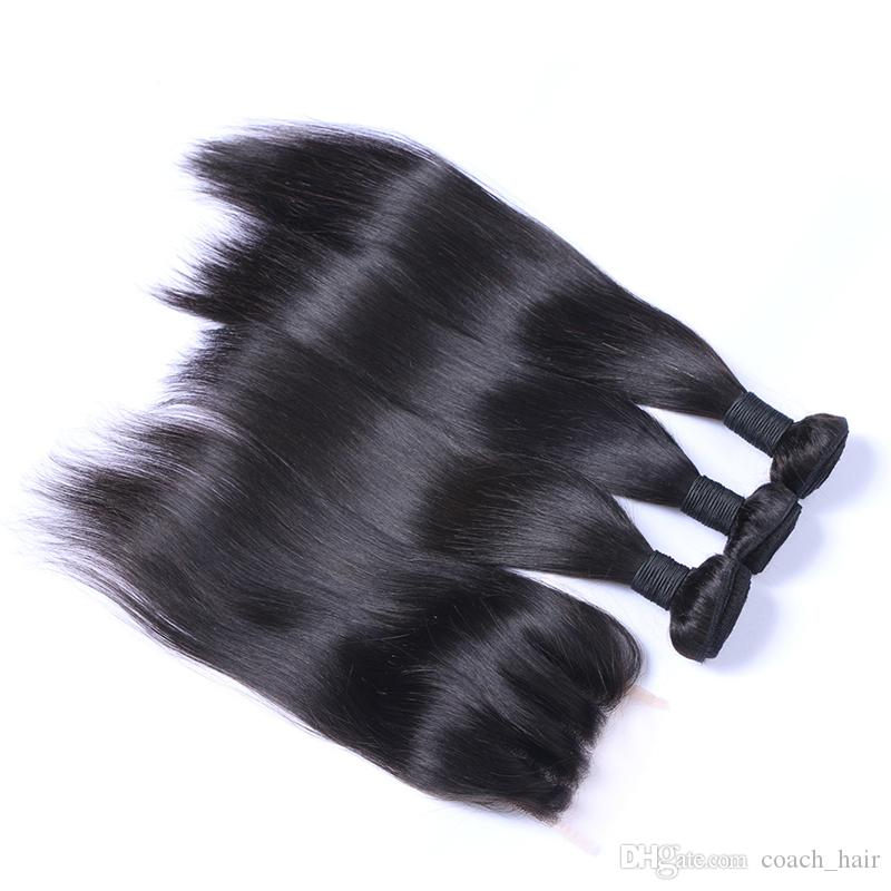 8A Straight Hair 3 Wefts With Three Part Lace Closure Brazilian Human Hair Bundles With 4*4 Top Closure