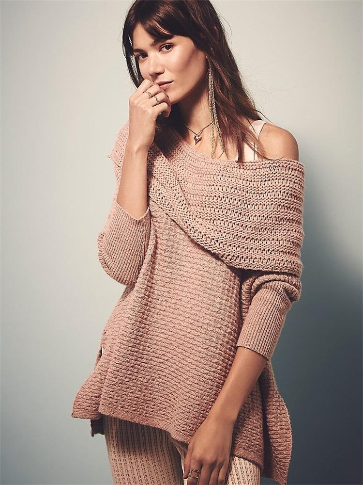 Europe And the United States Newest Style Fashion Knitted Sweaters 216  Autumn Long Sleeve Off Shoulder Pullover Casual Loose Sweaters Cacual Loose  Sweaters ... 35dab427d5fe