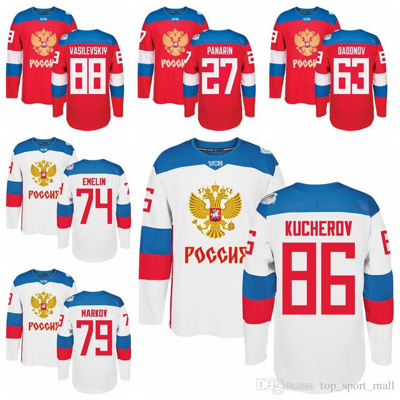 sports shoes e80a9 e4e13 WCH Russia 86 Nikita Kucherov Jersey 2016 World Cup Russian Hockey Jerseys  Ice 79 Markov 89 Nesterov 87 Shipachev 77 Telegin 90 Namestnikov