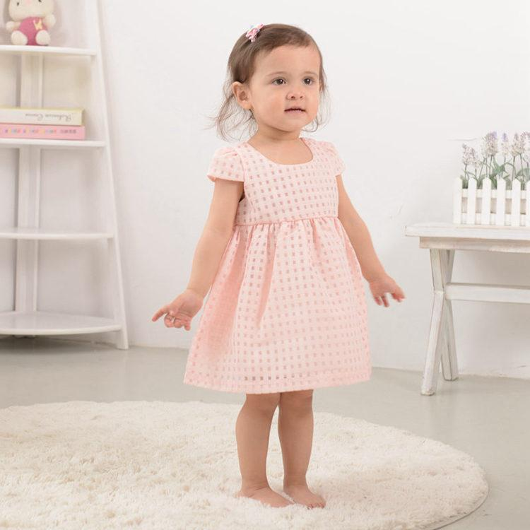 Wholesale- Newborn Lovely Infant Baby girl's Dresses 100% Cotton Pink Fashion Baby Girl Vestido 2017 Daily Toddler Baby Clothes ABD164004