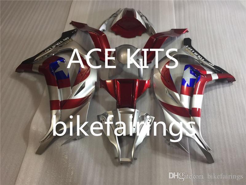 Carenados para Kawasaki Ninja ZX10R 11 12 13 14 15 ZX-10R 2011 - 2015 ABS kit de carenado completo de la motocicleta Silver Red AA2