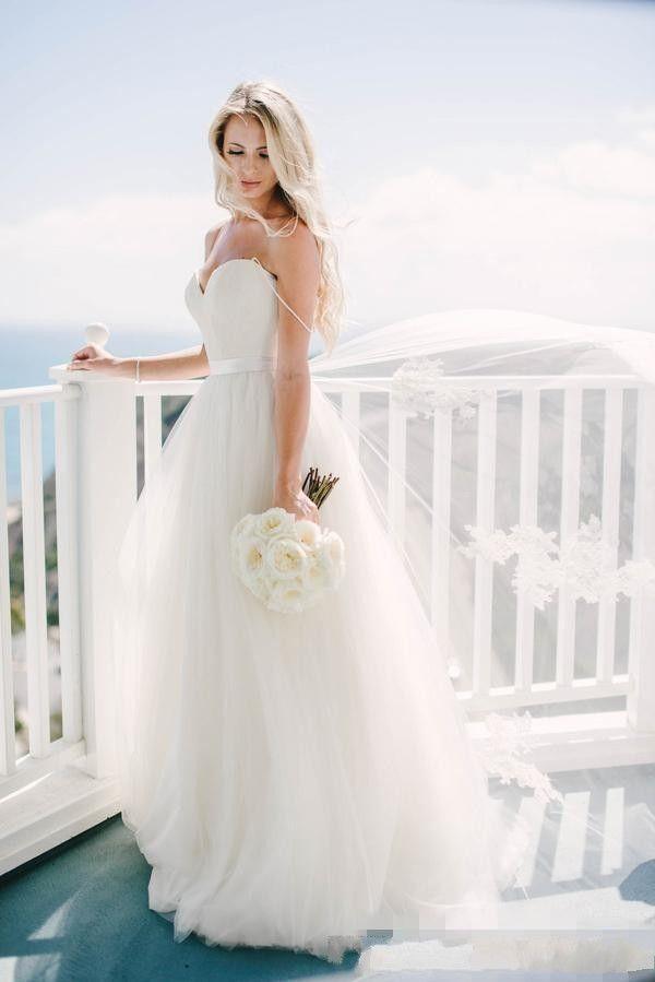 Vestidos de noiva de praia Vintage boémio vestidos nupciais espaguete tule backless tule longo chão comprimento boho vestido formal