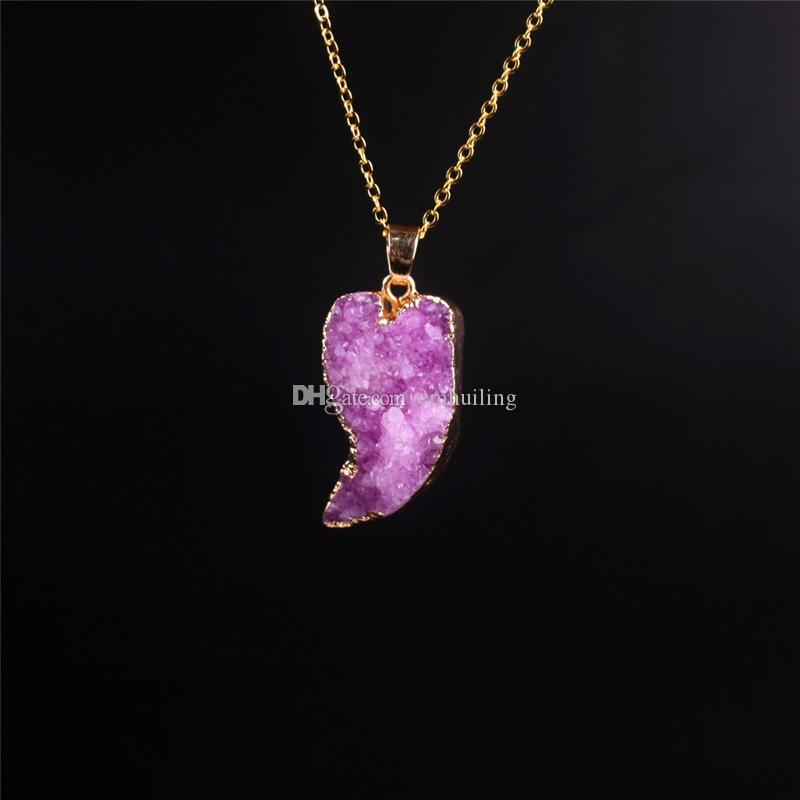 Purple Druzy Drusy Amethyst Pendant Necklace Gold Plated Moon Shape Natural Stone Pink Crystal Cluster Slice Pendants Necklaces For Women
