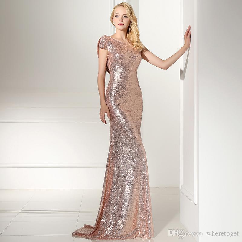 En existencia Sparkly Rose Gold Sequins Vestidos de dama de honor 2019 Joyas Mangas cortas Dama de honor Bling Bling Vestido de fiesta Vestidos de noche SD347