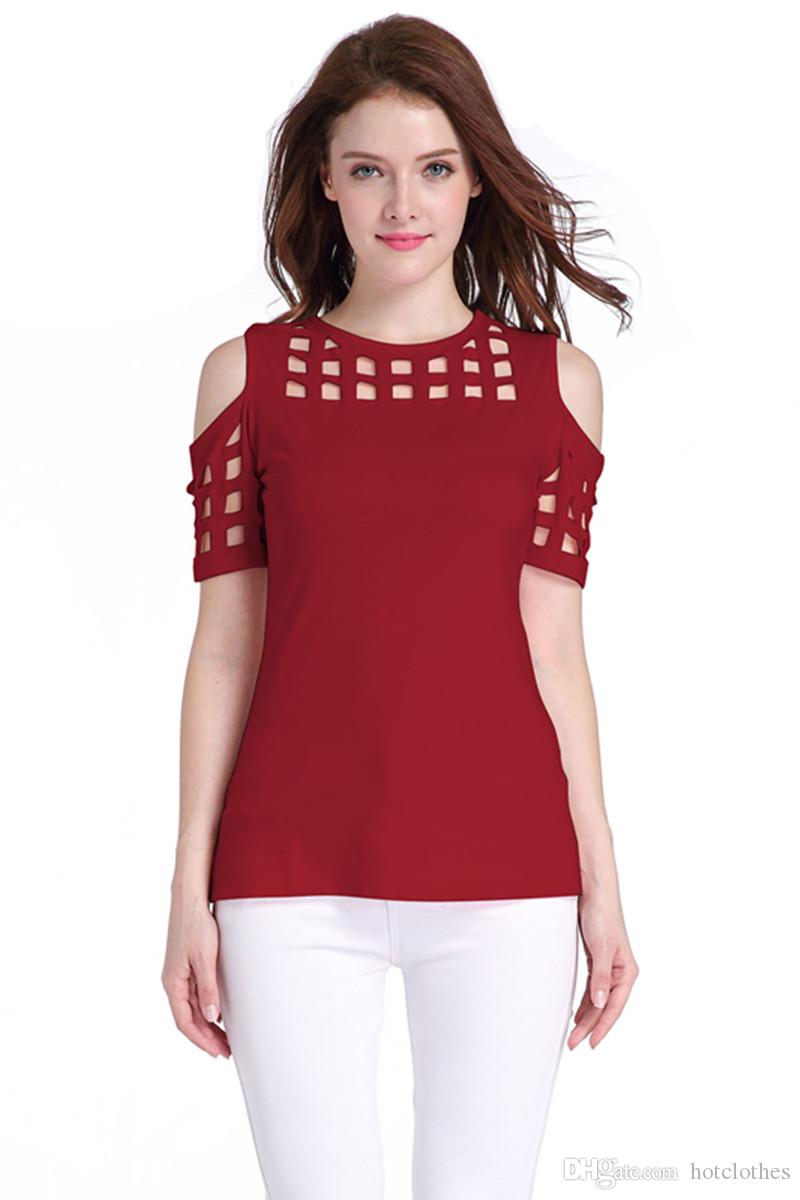 Women's Clothing Short Sleeve Women Tops 2017 Bodycon Hollow Out Block Cold Shoulder Shirts Slim Ladies T-shirt Tees for Women