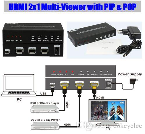 2016 new HDMI 2x1 Multi-Viewer with PIP & POP Seamless switcher 2 into 1  HDTV Digital Audio and Video Entertainment 1080P