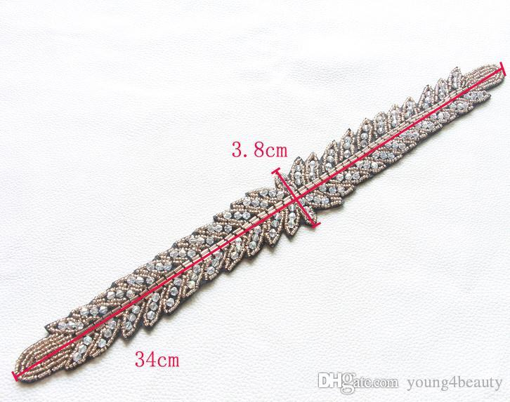 fashion garment beaded applique fake crystal beads hand-made clothing long trims for head-dress gown sewing decoration.