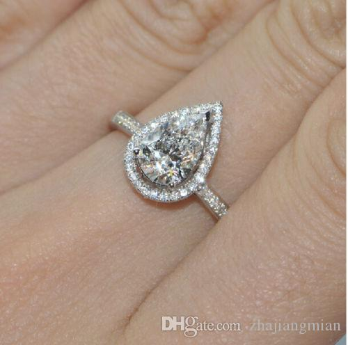 Size5/6/7/8/9/10Jewelry 925 Silver Filled White Sapphire Pear Shaped  Wedding Ring Gift Online With $24.0/Piece On Zhajiangmianu0027s Store |  DHgate.com