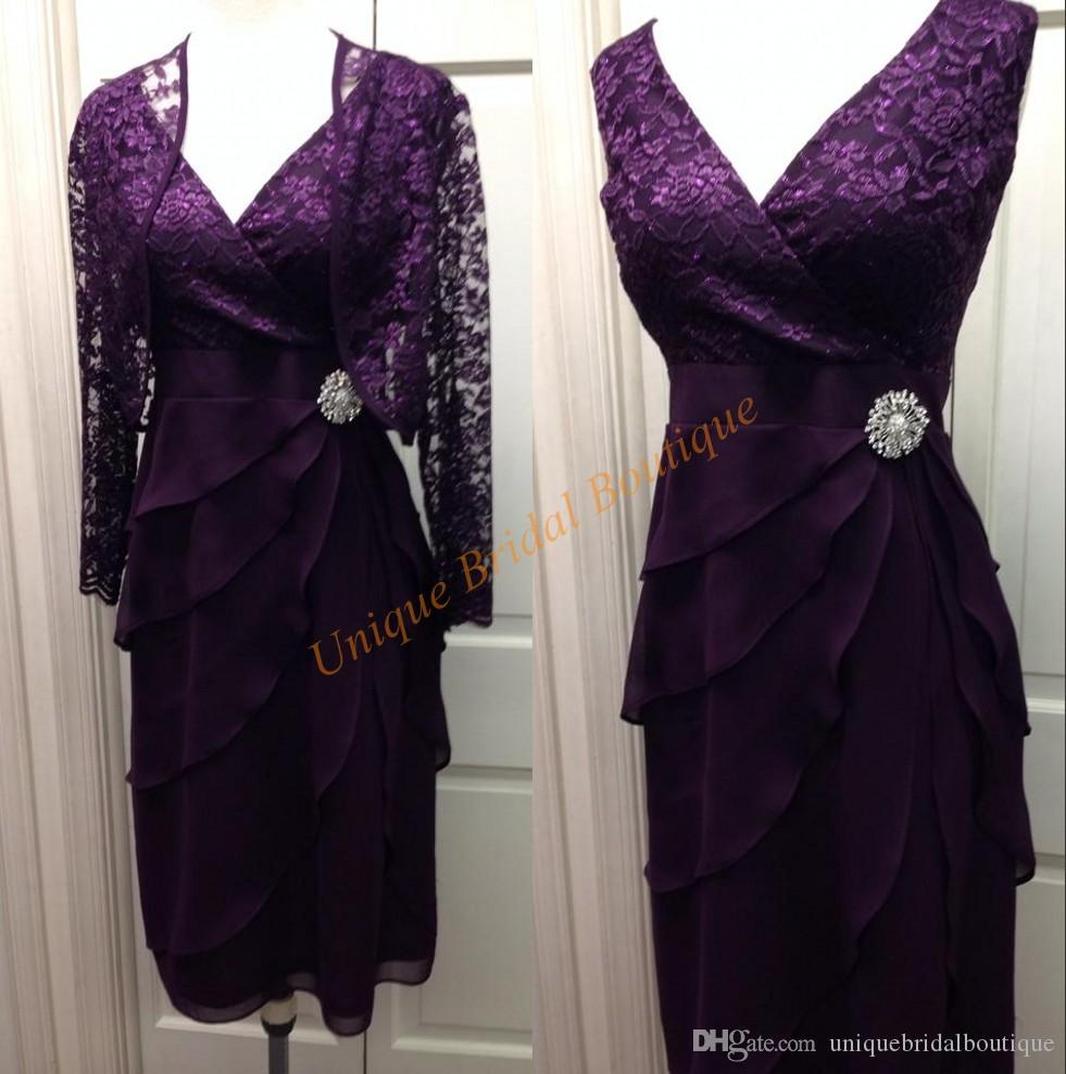 2016 Mother\'s Formal Wear Dresses with Lace Jacket and Deep V Neck Real Photos Tiered Chiffon Knee Length Mother\'s Wedding Gowns Purple